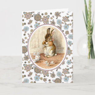Vintage Bunny Custom Easter Greeting Cards