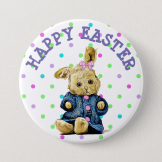 Vintage Bunny Polka Dot Happy Easter Button
