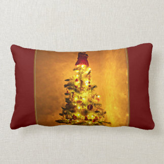 Vintage Burgundy and Gold Christmas Tree Pillow