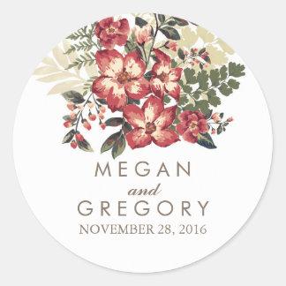 vintage burgundy flowers wedding classic round sticker