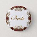 "Vintage burgundy gold wedding ""bridal party"" 6 cm round badge"