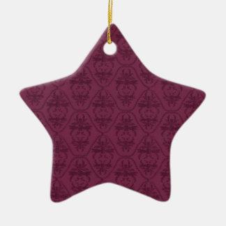 Vintage Burgundy Purple Damask Pattern Christmas Ornaments