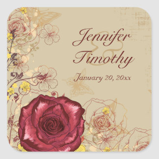 Vintage burgundy rose floral wedding stickers