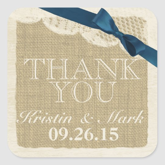 Vintage Burlap and Lace with Navy Blue Bow