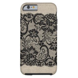 Vintage Burlap & Black Lace iPhone 6 case Tough iPhone 6 Case