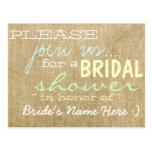Vintage Burlap Country Bridal Shower Invitation Post Card