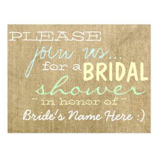 Vintage Burlap Country Bridal Shower Invitation Post Card