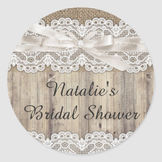 Vintage Burlap & Lace Bridal Shower Sticker