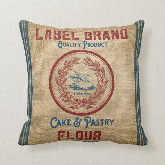 Vintage Burlap Poultry Flour Sack Throw Pillow