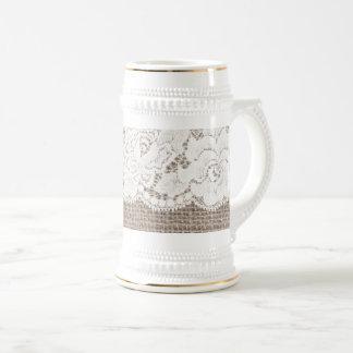 Vintage Burlap Rose Lace Ladies Beer Stein White