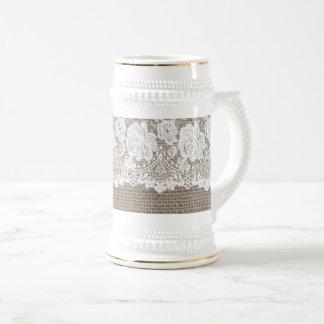 Vintage Burlap Rose Lace Ladies Beer Stein White 2