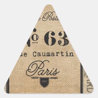 Vintage Burlap Stylish French Paris Triangle Sticker