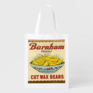 Vintage Burnham Brand Cut Wax Beans Label Reusable Grocery Bag
