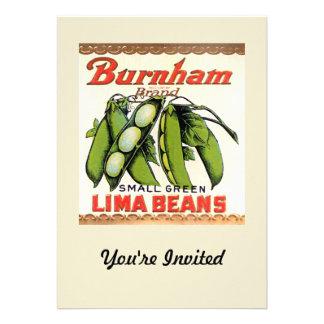 Vintage Burnham Brand Lima Beans Label Invitation