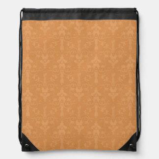 Vintage Burnt Orange Damask Pattern Drawstring Backpacks
