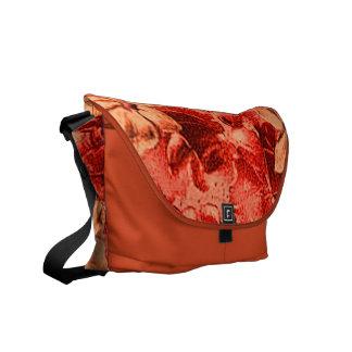 Vintage Burnt Orange Violets Mandrin Messenger Bag