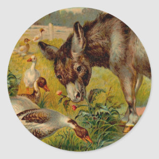 Vintage Burro With Geese Round Sticker