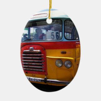 Vintage bus ceramic oval decoration