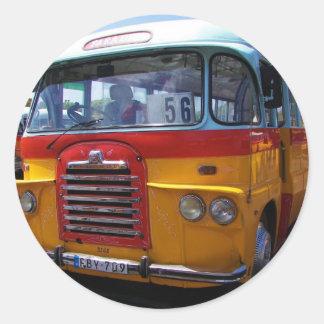 Vintage bus classic round sticker