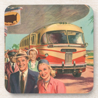 Vintage Bus Depot with Passengers on Vacation Drink Coasters