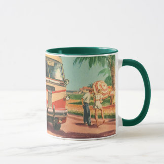 Vintage Bus Depot with Passengers on Vacation Mug