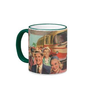 Vintage Bus Depot with Passengers on Vacation Ringer Mug