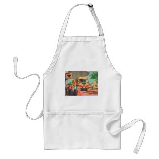 Vintage Bus Depot with Passengers on Vacation Standard Apron