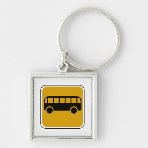 Vintage Bus Road Sign Keychain