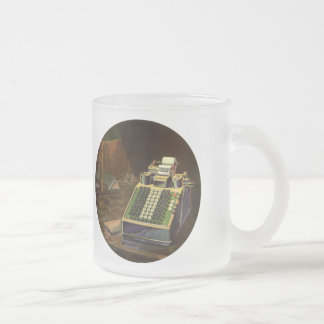 Vintage Business, Accountant Accounting Machine Frosted Glass Mug