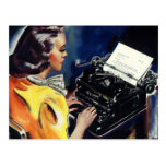 Vintage Business, Admin Secretary Typing a Letter Post Card