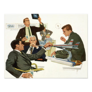 Vintage Business Airline Executives in a Meeting Personalized Invitation
