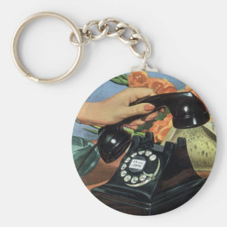 Vintage Business, Antique Phone with Rotary Dial Basic Round Button Key Ring
