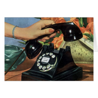Vintage Business, Antique Phone with Rotary Dial Card