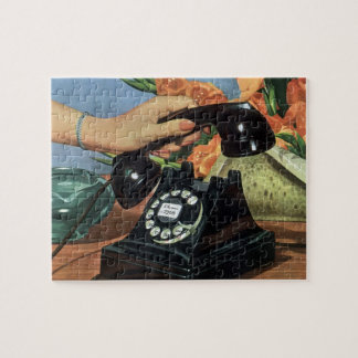 Vintage Business, Antique Phone with Rotary Dial Jigsaw Puzzle