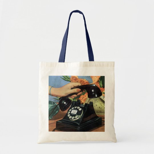 Vintage Business, Antique Phone with Rotary Dial Tote