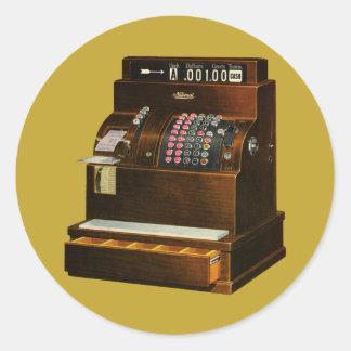 Vintage Business, Antique Retail Cash Register Round Sticker
