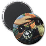 Vintage Business, Antique Rotary Dial Telephone 6 Cm Round Magnet
