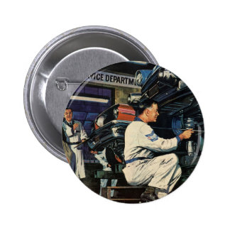 Vintage Business Auto Mechanic, Car Repair Service Button