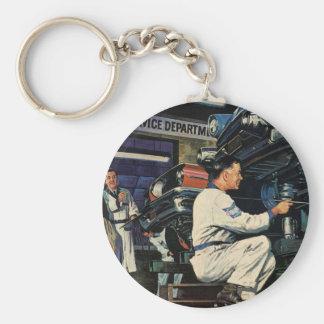Vintage Business Auto Mechanic, Car Repair Service Basic Round Button Key Ring