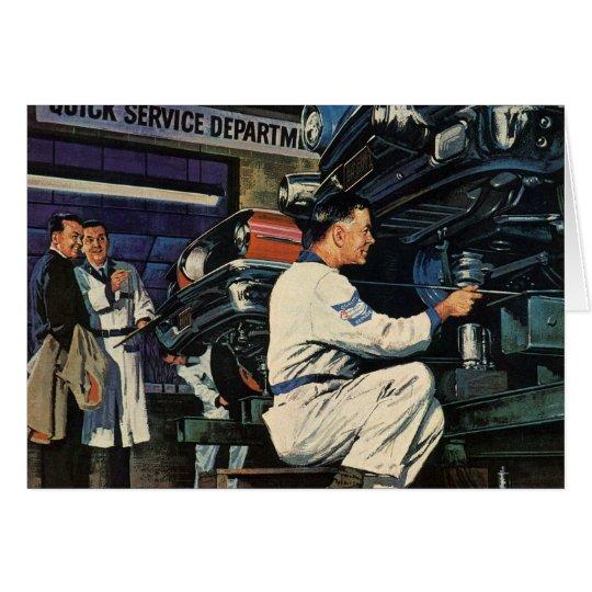 Vintage Business Auto Mechanic, Car Repair Service Card