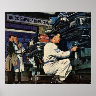 Vintage Business Auto Mechanic, Car Repair Service Poster