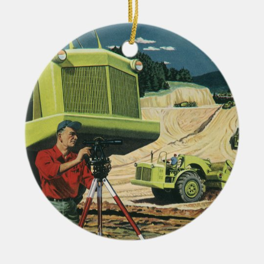 Vintage Business, Construction Site with Surveyor Christmas