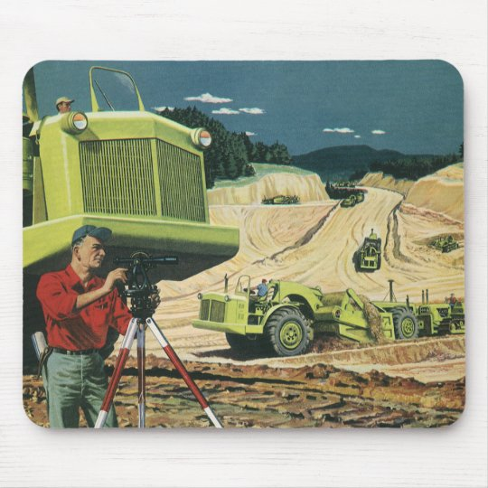 Vintage Business, Construction Site with Surveyor Mouse Pad