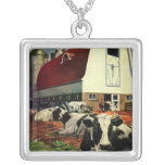 Vintage Business, Dairy Farm w Holstein Milk Cows Pendant