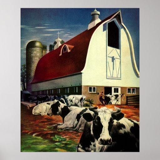 Vintage Business, Dairy Farm w Holstein Milk Cows Print
