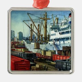 Vintage Business, Docked Cargo Ship Transportation Christmas Ornament