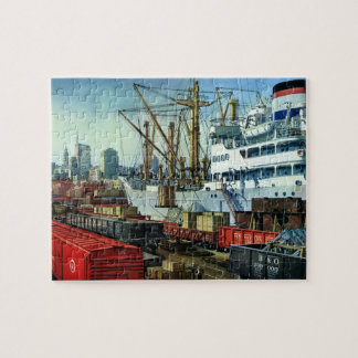 Vintage Business, Docked Cargo Ship Transportation Jigsaw Puzzle