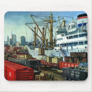 Vintage Business, Docked Cargo Ship Transportation Mouse Pad