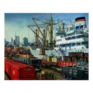 Vintage Business, Docked Cargo Ship Transportation Poster