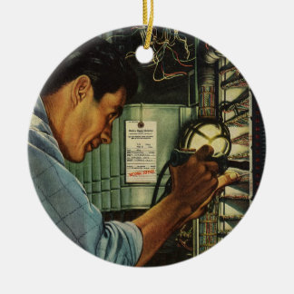 Vintage Business Electrician Circuit Breaker Panel Christmas Ornament
